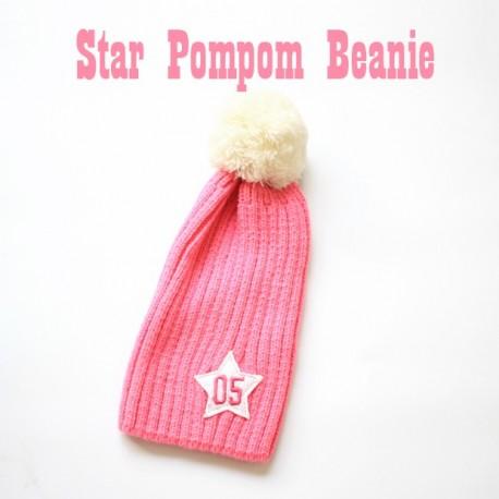 Star Pompom Beanie