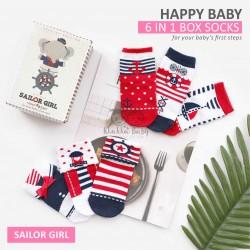 Happy Baby 6 In 1 Box Socks - Sailor Girl