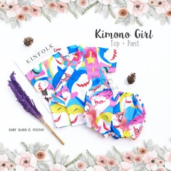Kimono Girl Top + Pant - Baby Shark & Friend