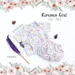 Kimono Girl Top + Pant - Cup Cake Blue