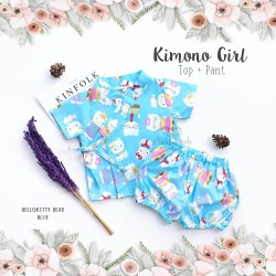 Kimono Girl Top + Pant - Hello Kitty Bear Blue