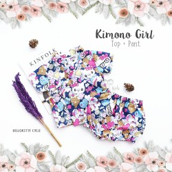 Kimono Girl Top + Pant - Hello Kitty Cycle
