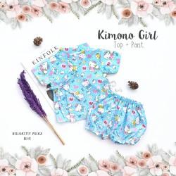 Kimono Girl Top + Pant - Hello Kitty Polka Blue