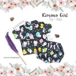 Kimono Girl Top + Pant - Kitty & Friend Black