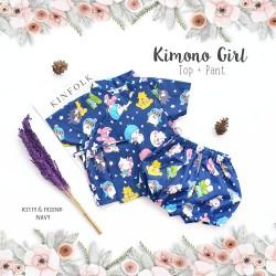 Kimono Girl Top + Pant - Kitty & Friend Navy