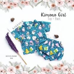 Kimono Girl Top + Pant - Kitty & Friend Teal
