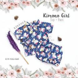Kimono Girl Top + Pant - Kitty Polka Navy