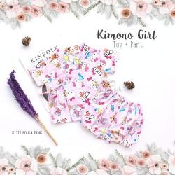 Kimono Girl Top + Pant - Kitty Polka Pink