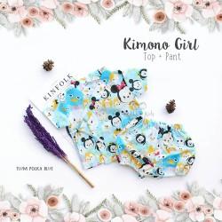 Kimono Girl Top + Pant - Tsum Polka Blue