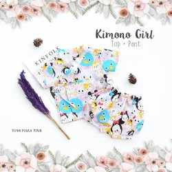 Kimono Girl Top + Pant - Tsum Polka Pink