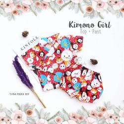 Kimono Girl Top + Pant - Tsum Polka Red