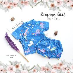 Kimono Girl Top + Pant - Unicorn Love Blue