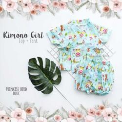 Kimono Girl Top + Pant - Princess Bird Blue