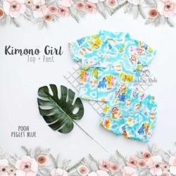 Kimono Girl Top + Pant - Pooh Piglet Blue