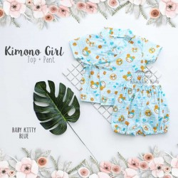 Kimono Girl Top + Pant - Baby Kitty Blue