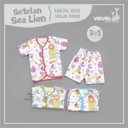 Velvet - Setelan Sea Lion - Kancing Depan - Tangan Pendek
