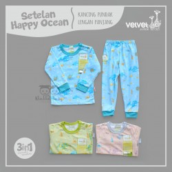 Velvet - Setelan Happy Ocean - Kancing Pundak - Tangan Panjang