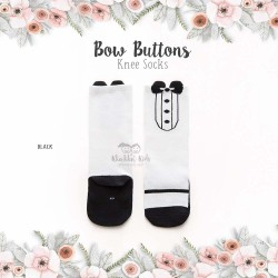 Bow Buttons Knee Socks