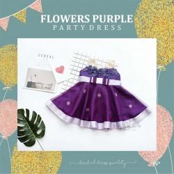Flowers Purple Party Dress