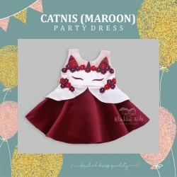 Catnis (Maroon) Party Dress