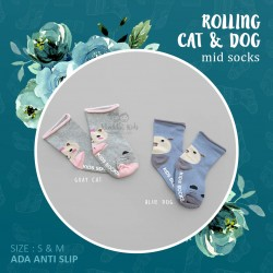 Rolling Cat & Dog Mid Sock