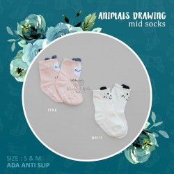 Animals Drawing Mid Sock